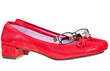 red low heel woman shoes and eyeglasses