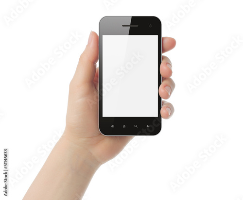 Hand holding smart phone isolated on white background.