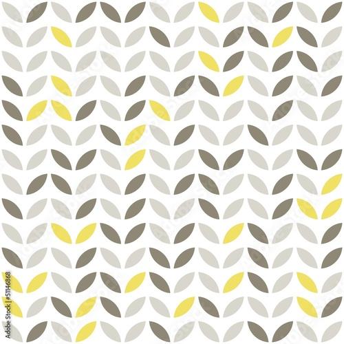 Fototapeta retro roślinny deseń szare i żółte liście na białym tle