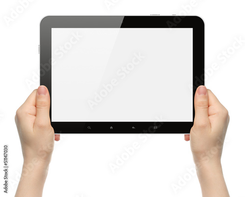 Woman hands holding black tablet PC