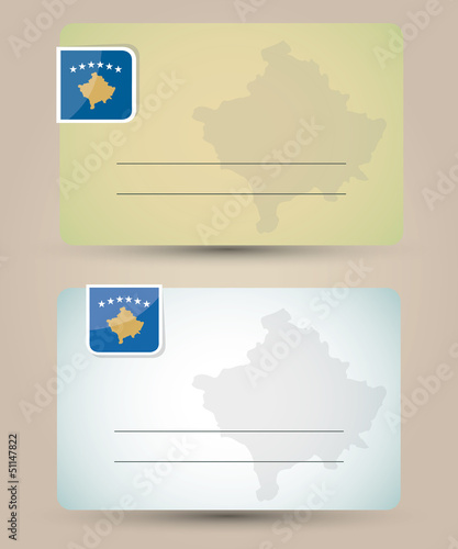 business card with flag and map of Kosovo