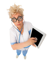 Funny doctor listen tablet by stethoscope