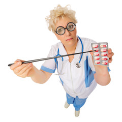 Funny doctor with pointer and pills