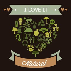 Vintage Ecological Illustration in Heart Shaped Icons