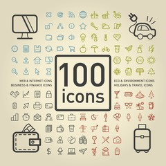 100 Outlined Universal Icons