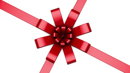 Centered red ribbon strands and a bow being animated on