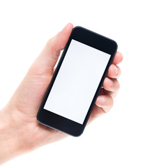 Blank mobile phone in hand isolated