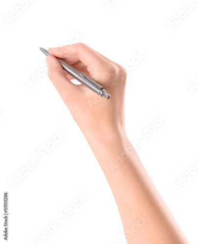 Hand with pen isolated on white