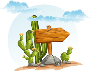 Wooden pointer with cacti in the desert