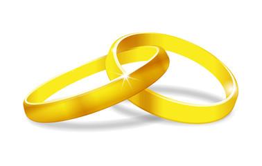 Goldene Ringe auf weißem Hintergrund vektor