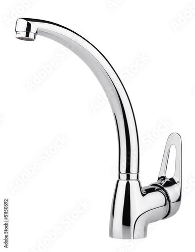 Water-supply faucet mixer isolated on white with clipping path