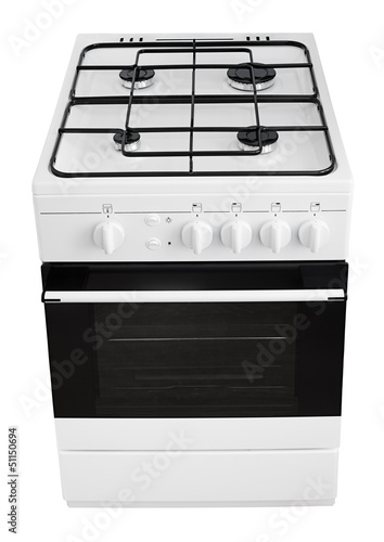 Modern white gas cooker isolated on white with clipping path