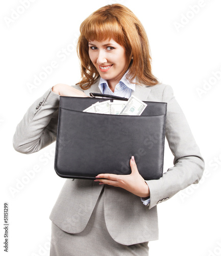 Business woman with black briefcase