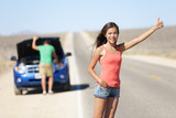 Car breakdown problems - woman hitchhiking