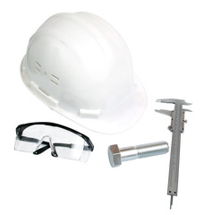 helmet, vernier caliper, eye-wear and bold (with Clipping Paths)
