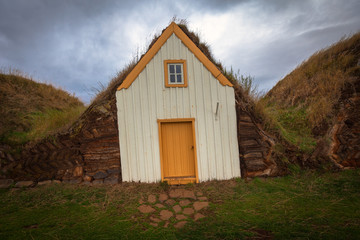 Traditional turf houses in a row in Glaumbaer. Iceland