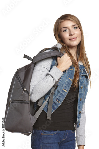Girl hiker with backpack looking at camera over white