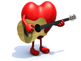 heart with arms and legs playing a guitar
