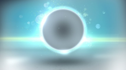 Abstract background of glowing sphere and particles