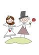 Cartoon-Zeichnung: Fröhliches Brautpaar