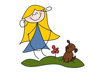 Cartoon-Zeichnung: Mädchen mit Springseil und Hund