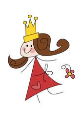 Cartoon-Zeichnung: Fröhliche Prinzessin