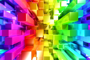 Rainbow of colorful blocks