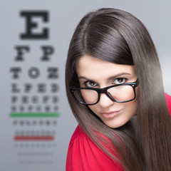 Woman taking an eye vision test