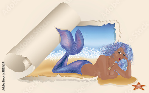 Summer card. Sexy mermaid, vector illustration