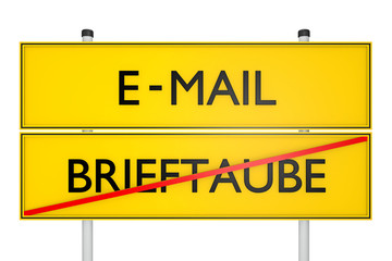 BRIEFTAUBE vs E-MAIL_techn. Revolution - 3D