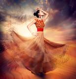 Fototapety Dancing Fashion Woman wearing Blowing Long Chiffon Dress