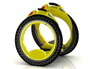 Yellow self-balancing electric scooter