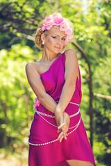 Pretty girl in purple dress