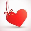 Herzetikett mit Schleife