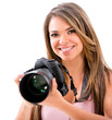 Female photographer with a camera