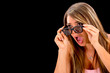 Shocked woman watching 3D movie