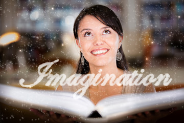 Woman letting her imagination fly