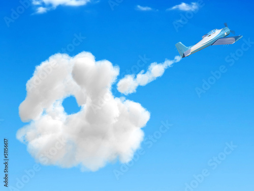 3D airplane flying in the sky
