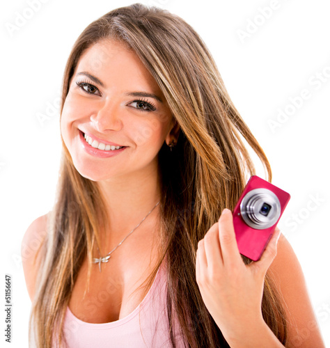 Happy woman with a camera