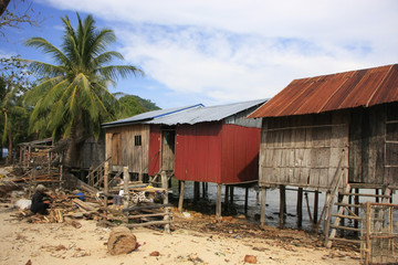 Stilt houses on Koh Rong Samlon island, Cambodia