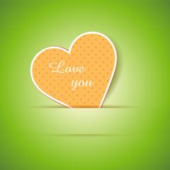 """""""Love you"""" Karte mit Herz im Papier gesteckt"""
