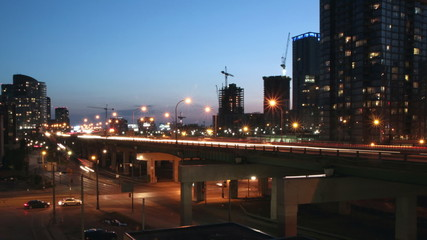 QEW highway in downtown Toronto. Dusk to night timelapse.