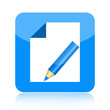 Write icon with paper and pencil