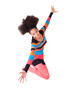 Black African American teenage girl with a afro haircut jumping