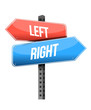 left, right road sign illustration design