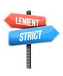 lenient, strict road sign illustration design