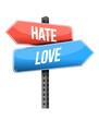 hate, love road sign illustration design