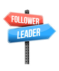 follower, leader road sign illustration design