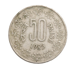 Indian coins on a white background