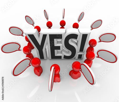 Yes Approval Acceptance People Speech BubblesTalking